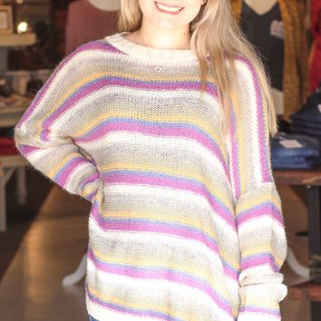 {Sage Mix} Colorful Stripes Knit Sweater