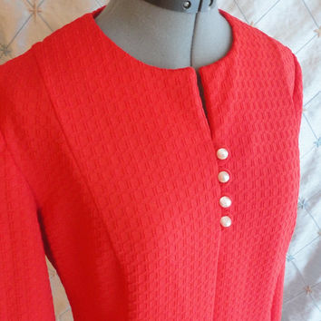 ON SALE XL // Vintage 1960s Red Waffle Texture Dress with Long Sleeves Size Xl 37 inch waist
