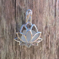 Pale Sea Glass Sterling Silver Lotus Flower White Pale Aqua Locket by Wave of LIfe