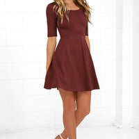 Black Swan Braelynn Wine Red Skater Dress