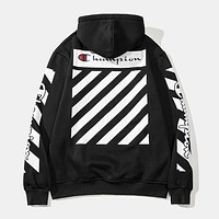 Champion x OFF-WHITE co-branded couple with wild loose hooded sweater Black
