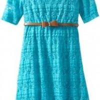 My Michelle Big Girls' Lace Scoopneck Dress with Bow Belt, Turquoise, 16