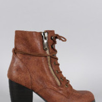 Women's Qupid Oil Finish Suede Lace Up Bootie