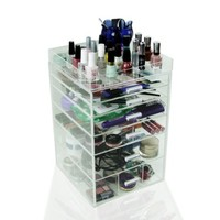 Acrylic Clear Makeup Cosmetic Case Cube Box 6 Drawers w/ All Dividers & Top Tray