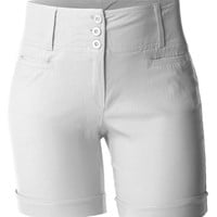 LE3NO Womens Plus Size High Waisted Bermuda Shorts with Stretch (CLEARANCE)