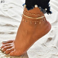 Multilayer Beads Anklet Set Fashion Sequins Star Ankle Bracelets for Women Beach Foot Jewelry Leg Chain Anklets