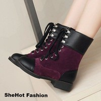 Women Casual Flat Lace Up Round Toe Vintage Ankle Boots