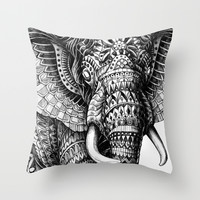 Ornate Elephant v.2 Throw Pillow by BIOWORKZ