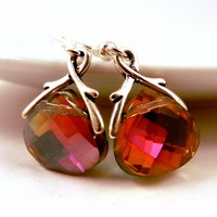 Crystal Drop Earrings with Fuchsia Hot Pink Flash Briolettes & Silver Twigs