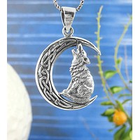 Wolf Howling at the Celtic Moon Pendant