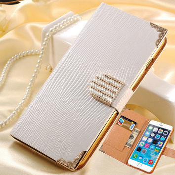 Wallet Leather Case For iPhone 6 Plus 5.5 Inch Shining Rhinestone With Card Slot
