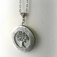 Tree Locket Necklace Celtic Tree of Life Antique Silver Photo Locket (Crann Bethadh) Gift for Girlfriend