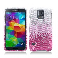AIMO Dazzling Diamond Bling Case for Samsung Galaxy S5 - (Waterfall - Pink)