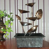 Cascading Five Leaves Tabletop Fountain w/ LED Light