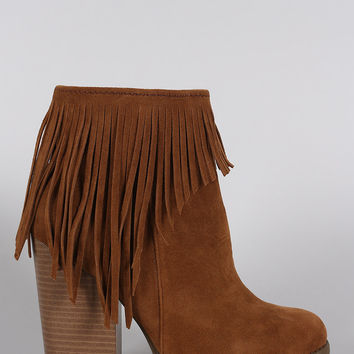 Suede Fringe Chunky Heeled Ankle Boots