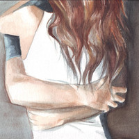 Original watercolor painting of couple in embrace, art