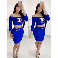 Champion Hot Sale Women Sexy Print Long Sleeve Top Skirt Set Two-Piece Blue