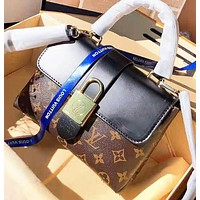 Louis Vuitton LV Fashion New Monogram Leather Shoulder Bag Women Black