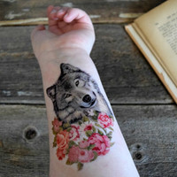 Wolf Temporary Tattoo - Colorful, Floral, Spring, Large temporary tattoo, Wolf, Lone wolf, black and white