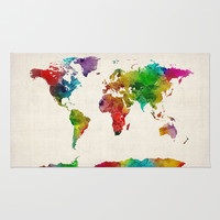 Watercolor Map of the World Map Rug by ArtPause