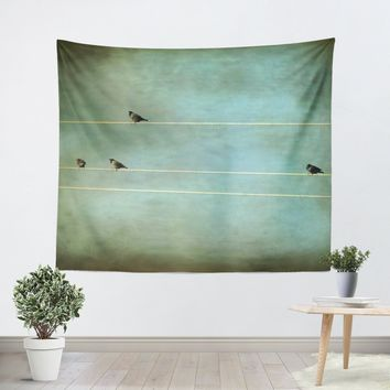 Gothic Birds on a Wire Tapestry