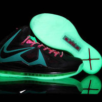 air max nike lebron x glow in the dark black blue and pink mens shoes