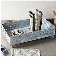 Rackmyshoe Resistants to The Elements Steel Shoe Storage - Rolling Underbed Storage with Wooden Wheels - Gray Wash