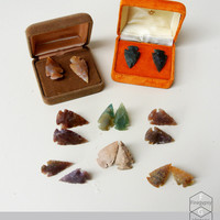 Arrowhead studs flint stone earrings