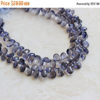 47% Off Iolite Gemstone Briolette Faceted Teardrop Pear Top Drilled 6.5 to 7.5mm 28 beads 1/2 strand