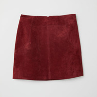 Short Suede Skirt - Burgundy - Ladies | H&M US