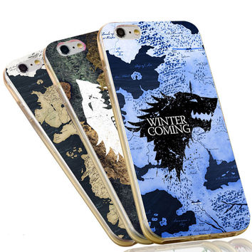 The Game of Thrones World Map Soft Silicon Flexible TPU Case Cover for iPhone 7 4 4s 5 5s 5c 6 6s plus Stark Jon Snow White Wolf