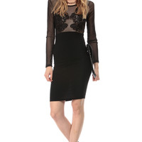 Black Crochet Nude Illusion Body Con Dress