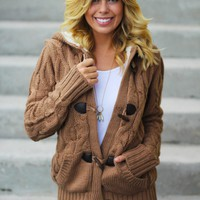 Camel Knit Hooded Sweater with Fur