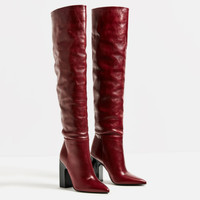 LEATHER HIGH HEEL BOOTS WITH WIDE LEG - View all-SHOES-WOMAN | ZARA United States