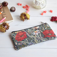 Poppies pencil case, Pencil Pouch, Cosmetic pouch, Make Up Pouch, Charger bag, Project bag, Travel bag, Bridesmaid gift, Bridal purse