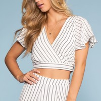 Take It Breezy Striped Wrap Top