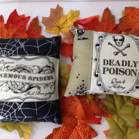Halloween Ornamental Mini Pillow Your Choice of One Venemous Spiders or Deadly Poison