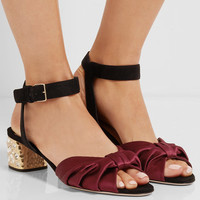 Miu Miu - Crystal-embellished knotted satin and suede sandals