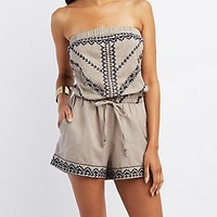 EMBROIDERED STRAPLESS ROMPER