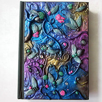 Polymer clay journal / colourful diary / colourful journal / custom journal / floral / fantasy journal / fantasy / secret diary