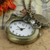 Hello kitty-pocket watch necklace with vintage antique bronze cap charm and glass crystal charm