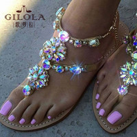 women sandals rhinestone sexy gladitor ladies flat sandals crystal women summer shoes woman slip on best quality