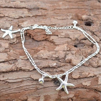 Fashion 925Sterling Silver Anklet Foot Chain soles Ankle Barefoot Bracelet