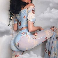 Fashion Cupid Printed Bell Pants Women's Mesh Perspective Casual Pants