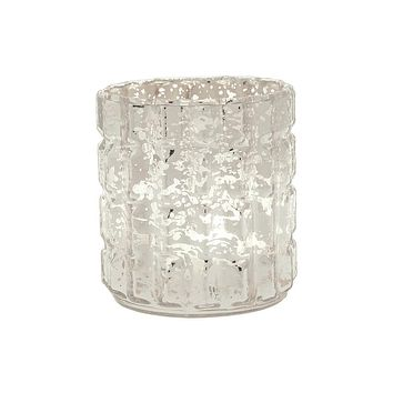 Vintage Mercury Glass Candle Holder (2.75-Inch, Helen Design, Fluted Column Motif, Silver) - For Use with Tea Lights - For Parties, Weddings, Homes