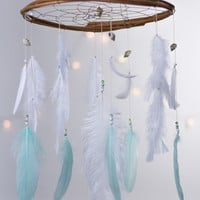 White Dreamcatcher Mobile - Mint and White Dream catcher Mobile Boho Bohemian Baby Mobile Tribal Crib Nursery Baby Girl Baby boy