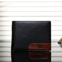 """Louis Vuitton"" Men Purse Fashion Stitching Classic Letter Logo Embossed Short Section Multi-card Bit Fold Wallet"