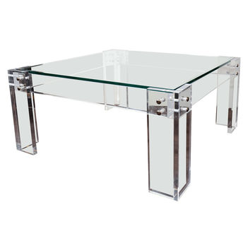 Sexy 1970s Modernist Lucite and Glass Cocktail table