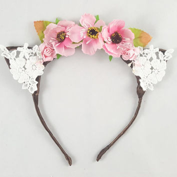 Pink flower crown, Cat ears, Bohemian, Anime, Cosplay, Cat ear headband, Cat ears headband, Anime cat ears, Festival