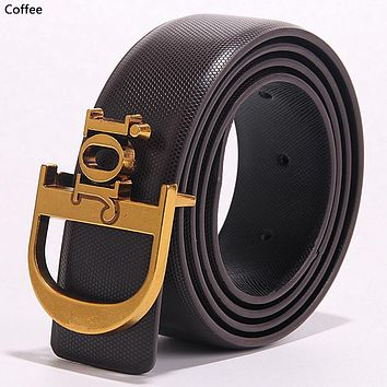 Dior simple retro men's and women's wild letter buckle belt Coffee